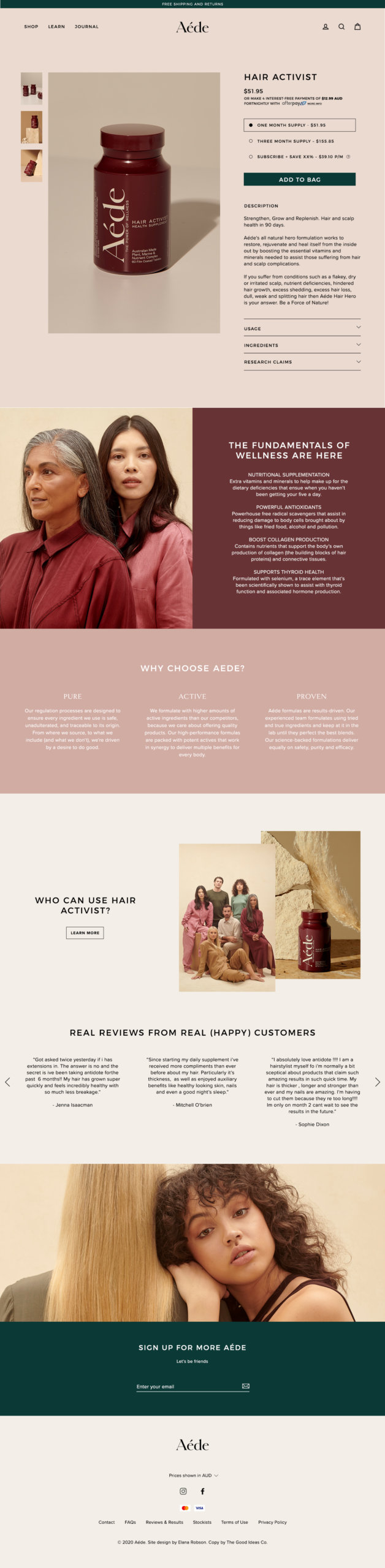 Aede-Website-Product-Page